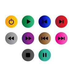flat black button icon set vector image