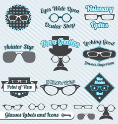 Glasses Labels and Icons vector image