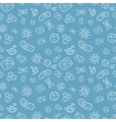 Many bacterias and viruses under microscope vector image
