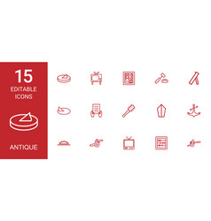 15 antique icons vector