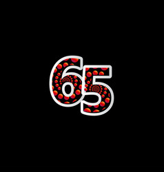 65 anniversary celebration bubble red number vector