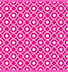 Abstract seamless white polka dots on neon pink vector
