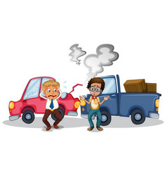 Accident scene with car crash vector