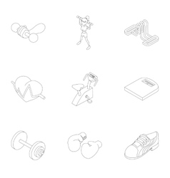Active fitness icons set outline style vector