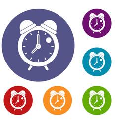 Alarm clock retro classic design icons set vector