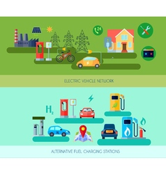 Alternative Energy Vehicles Banners Set vector image