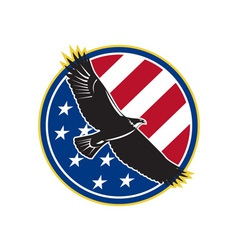 American eagle flying usa flag retro vector