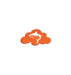 Angry blue shark fish logo design i a cloud shape vector
