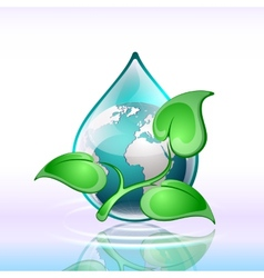 Background planet in a drop of water vector