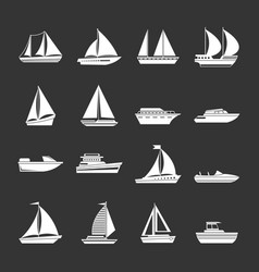 Boat and ship icons set grey vector