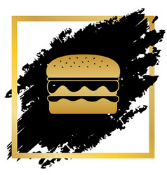 Burger simple sign golden icon at black vector