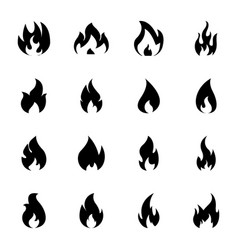 burning flame icon set vector image