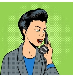 Business woman with phone vector image