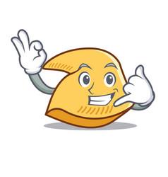 Call me fortune cookie mascot cartoon vector