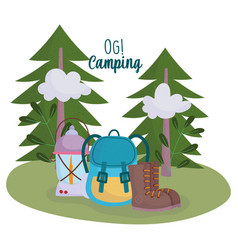 camping lantern rucksack boot vacations activity vector image