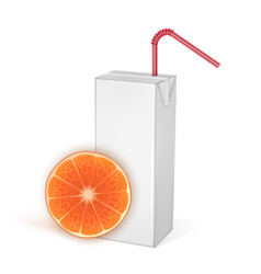 carton packages orange juice isolated vector image