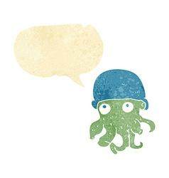 Cartoon alien head wearing hat with speech bubble vector