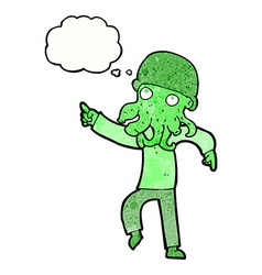 Cartoon alien man dancing with thought bubble vector