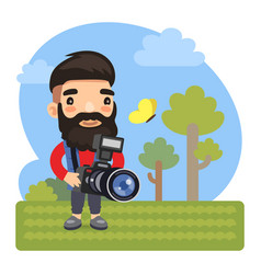 cartoon photographer with camera vector image