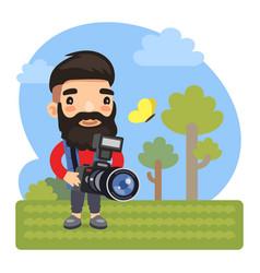 Cartoon photographer with camera vector