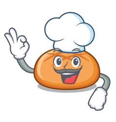 chef hamburger bun character cartoon vector image