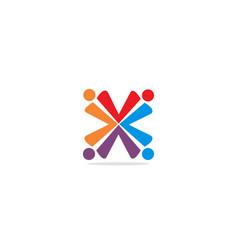 circle x colorful group logo vector image