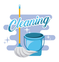 cleaning blue bucket and mop tools vector image