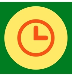 Clock flat orange and yellow colors round button vector