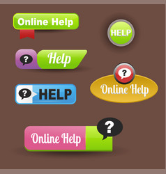 Colorful website online help buttons design vector