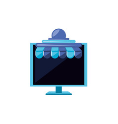 computer monitor with parasol store vector image