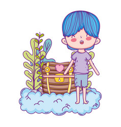 cute little boy with treasure chest in clouds vector image