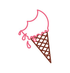 Delicious ice cream cone with bite vector