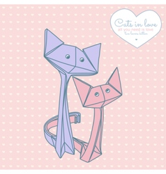Drawing of cute origami cats in love vector