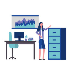 Employee woman in the office with cabinet desk vector