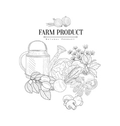 Farm Product Hand Drawn Realistic Sketch vector