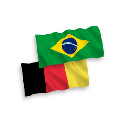 Flags belgium and brazil on a white background vector
