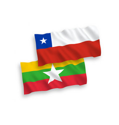 flags chile and myanmar on a white background vector image
