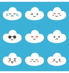 Flat design cartoon cute cloud characters vector image