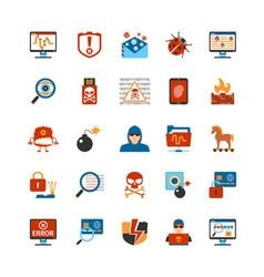 flat design hacker icons vector image