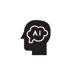 flat glyph black artificial intelligence icon vector image