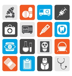 Flat medical hospital and health care icons vector