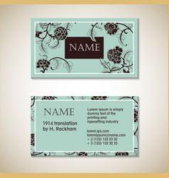 Floral visit card template vector