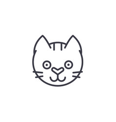 funny cat head line icon sign vector image