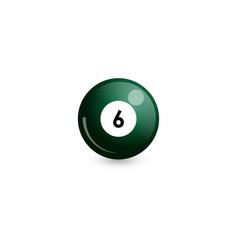 Green billiard ball number 6 vector