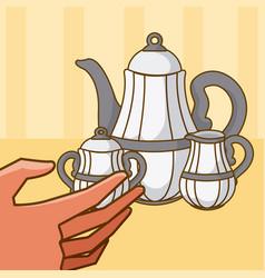 Hand grabbing kettles vector