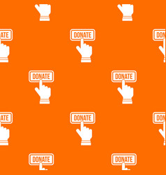 hand presses button to donate pattern seamless vector image