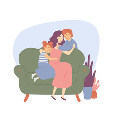 happy family mother hugs children daughter and son vector image