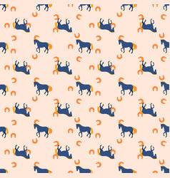 horse and horseshoe seamless peach color pattern vector image