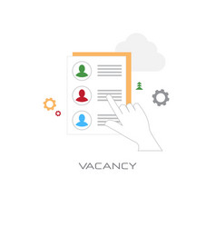 human resources hand choosing resume vacancy vector image