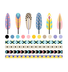 indian feather set vector image